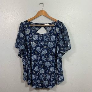 Lucky Brand Blue Floral Short Sleeve Top Size 3X